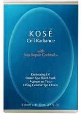 KOSÉ Cell Radiance Soja Repair Cocktail Contourig Lift Onsen Spa Sheet Maske 6 Stk. Tuchmaske