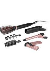 VITALMAXX - VITALmaxx Haarglättbürste Deluxe, Leichtes Austauschen der Aufsätze - mit nur einem Klick, schwarz, schwarz - GLÄTTEISEN