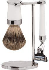 Erbe Shaving Shop Premium Design PARIS Dachshaar & Mach3 Edelharz weiß Rasiergarnitur Rasierset
