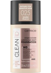 Catrice Clean ID High Cover Luminous Matt Flüssige Foundation  30 ml Nr. 025 - Warm Peach
