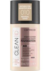 Catrice Clean ID High Cover Luminous Matt Flüssige Foundation  30 ml Nr. 010 - Neutral Sand
