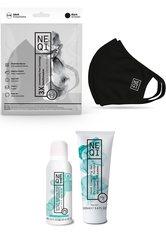 NEQI Mund-Nasen-Maske, Set, 3-teilig, inkl. feuchtigkeitsspendende Handseife und Handreinigungsgel