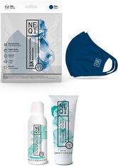 NEQI Community-Maske, Set, 3-teilig, für Kinder, inkl. feuchtigkeitsspendende Handseife und Handreinigungsgel