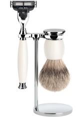 MÜHLE - Mühle Produkte SOPHIST 3-tlg. Silberspitz Rasier-Set  Griffe weißes Porzellan Gillette® Mach3® Rasierset 1.0 st - RASIER TOOLS