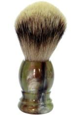 Golddachs Produkte Rasierpinsel Kunststoff Grün/Braun Silberspitze Pinsel 1.0 pieces