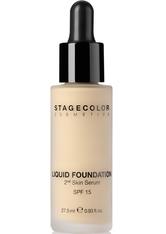 STAGECOLOR - Stagecolor Liquid Foundation 2nd Skin Serum SPF 15 Flüssige Foundation 0000718 - Natural Beige - FOUNDATION