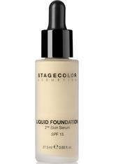 STAGECOLOR - Stagecolor Liquid Foundation 2nd Skin Serum SPF 15 Flüssige Foundation 0000717 - Cool Beige - FOUNDATION