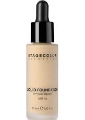 STAGECOLOR - Stagecolor Liquid Foundation 2nd Skin Serum SPF 15 Flüssige Foundation 0000719 - Olive Beige - Foundation