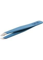 Canal Haarpinzette schräg hellblau rostfrei 95 mm