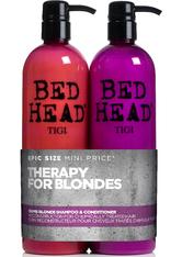 Aktion - Tigi Bed Head Dumb Blonde Tween Duo Shampoo + Reconstructor 2 x 750ml Haarpflegeset