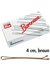 Baronesse Haarklemmen 4 cm 12er-Pack Braun