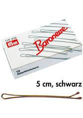 Baronesse Haarklemmen Schwarz  5 cm 12 Stück glatt