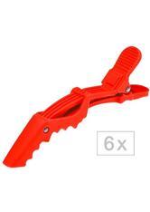 Efalock Professional Haarstyling Haarnadeln und Haarklammern Shark-Clips Soft Rot 6 Stk.