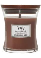 WoodWick Stone Washed Suede Hourglass Duftkerze  85 g