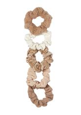 Assorted Textured Scrunchies Sand
