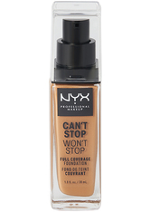 NYX Professional Makeup Can't Stop Won't Stop 24-Hour Foundation Flüssige Foundation  30 ml Nr. 15.7 - Warm Caramel