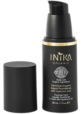INIKA Certified Organic Liquid Mineral Foundation with Hyaluronic Acid 30ml YL7 Honey (Medium/Dark, Warm)