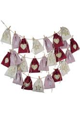 Douglas Collection NEU: Joyful Holidays Adventskalender m. 24 Cordsäckchen, rot, rosa, creme Dekoration 1.0 pieces