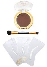 Ikos Make-up Augen Augenbrauen-Formliner Set Schablonen 3 Stk. + Augenbrauenpuder Braun 3 g + Pinsel 1 Stk.