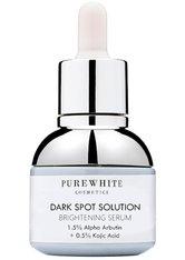 Pure White Cosmetics Gesichtspflege Dark Spot Solution Brightening Serum – 1,5% Alpha Arbutin + 0,5% Kojic Acid Serum 30.0 ml