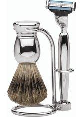 Erbe Shaving Shop Premium Design MILANO Rasiergarnitur Dachshaar & Mach3 Metall glänzend Rasierset