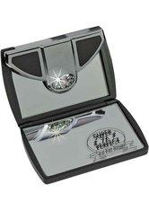 Fantasia Taschenspiegel, eckig, Schwarz 7-fach Vergrößerung, Swarovski Elements, Maße 8 x 6 cm