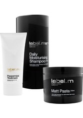 Aktion - Label.Men Daily Moisturising Shampoo + Peppermint Treatment + Matt Paste Haarpflegeset