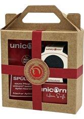 UNICORN COSMETICS - Unicorn Geschenk-Set mini-Apfel Haarseife 16g + sauer Spülung 10ml + Seifendose klein samtschwarz rot Haarpflegeset - Haarpflegesets