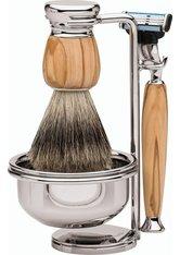 Erbe Shaving Shop Premium Design MILANO Dachshaar & Mach3 Olivenholz Rasiergarnitur mit Seifenschale