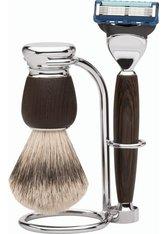 Erbe Shaving Shop Premium Design MILANO Rasiergarnitur Silberspitz & Fusion Wengeholz Rasierset