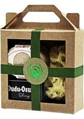 Unicorn Geschenk-Set mini-Seifendose klein sahneweiß + Dudu Osun CLASSIC 25g + Naturschwamm klein grün Körperpflegeset