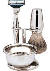 Erbe Shaving Shop Rasierset vierteilig, hochglänzend, Gillette Mach 3, mit Schale
