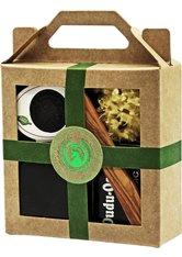 Unicorn Geschenk-Set mini-Seifendose klein samtschwarz + Dudu Osun CLASSIC 25g + Dudu Shea PURE 15ml + Naturschwamm klein + Olivenholzspatel grün Körperpflegeset