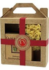 Unicorn Geschenk-Set mini-Tanamera Schwarze Gesichtspeelingseife 60g + Naturschwamm klein rot Gesichtspflegeset