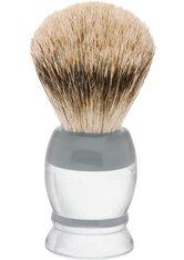 Becker Manicure Shaving Shop Rasierpinsel Rasierpinsel Dachshaar, Plastikgriff weiß grau groß 1 Stk.
