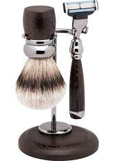 Erbe Shaving Shop Rhodium-Rasier-Garnitur dreiteilig, Wengeholz, Gillette Mach 3
