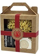 Unicorn Geschenk-Set mini-Seifendose klein sahneweiß + Dudu Osun CLASSIC 25g + Naturschwamm klein rot Körperpflegeset