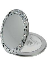 Fantasia Taschenspiegel, rund, Silber 10-fach Vergrößerung, Swarovski Elements, Ø 8,5 cm
