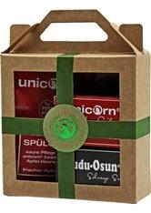 Unicorn Geschenk-Set mini-Apfel Haarseife 16g + sauer Spülung 10ml + Dudu Osun CLASSIC 25g grün Haarpflegeset
