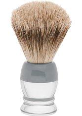 Becker Manicure Shaving Shop Rasierpinsel Rasierpinsel Dachshaar, Plastikgriff weiß grau klein 1 Stk.