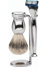 Erbe Shaving Shop Premium Design MILANO Silberspitz & Fusion Metall glänzend Rasiergarnitur Rasierset