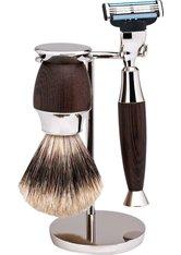 Erbe Shaving Shop Rasierset dreiteilig, Wengeholz/Chrom, Gillette Mach 3
