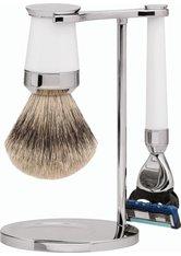 Erbe Shaving Shop Premium Design PARIS Silberspitz & Fusion Edelharz weiß Rasiergarnitur Rasierset