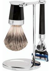 Erbe Shaving Shop Premium Design PARIS Silberspitz & Fusion Edelharz schwarz Rasiergarnitur Rasierset
