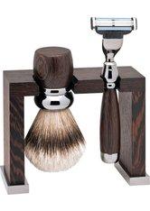 Erbe Shaving Shop Rhodium-Rasier-Set dreiteilig, Wengeholz, Gillette Mach 3