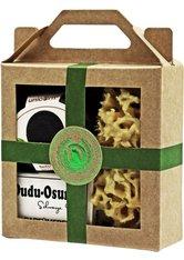 Unicorn Geschenk-Set mini-Seifendose klein samtschwarz + Dudu Osun PURE 25g + Naturschwamm klein grün Körperpflegeset