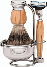 Erbe Shaving Shop Premium Design MILANO Rasiergarnitur mit Seifenschale Dachshaar & Mach3 Olivenholz Rasierset