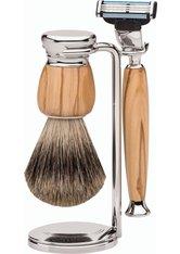 Erbe Shaving Shop Premium Design MILANO Dachshaar & Mach3 Olivenholz Rasiergarnitur Rasierset