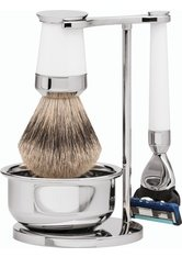 Erbe Shaving Shop Premium Design PARIS Silberspitz & Fusion Edelharz weiß Rasiergarnitur mit Seifenschale Rasierset