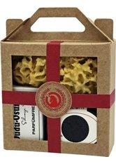 Unicorn Geschenk-Set mini-Seifendose klein samtschwarz + Dudu Osun PURE 25g + Naturschwamm klein rot Körperpflegeset